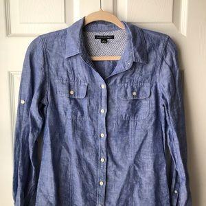 Jcrew Linen Button Up Blouse